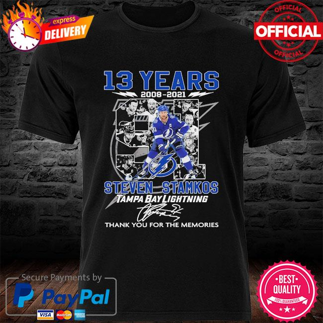 13 years Steven Stamkos Tampa bay Lighting thank you for the memories signatures shirt