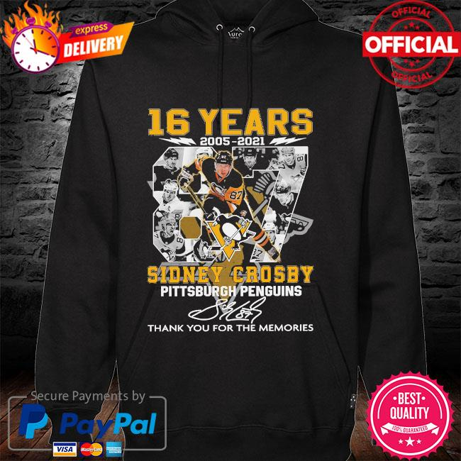 16 years Sidney Crosby Pittsburgh Penguins thank you for the memories signatures hoodie