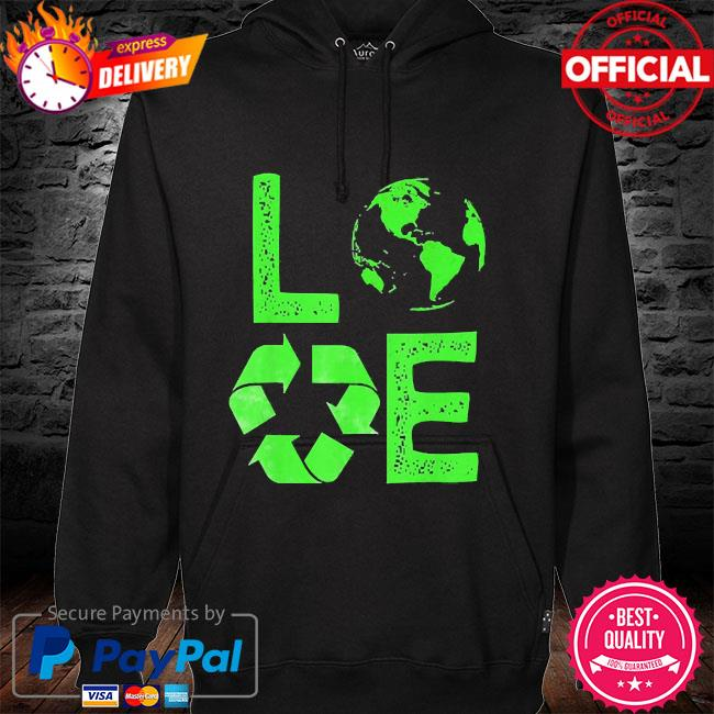 Love earth day 90s planet vintage recycling hoodie