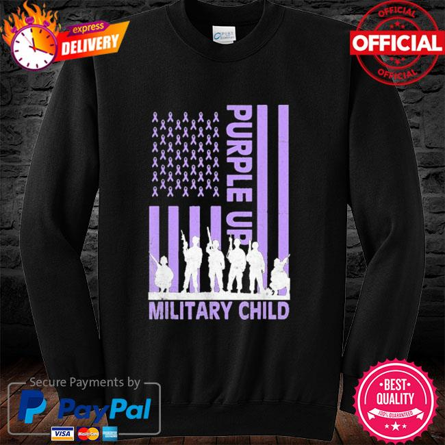 Purple up for military kids military child American flag long sleeve