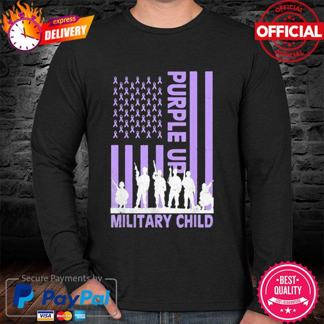 Purple up for military kids military child American flag sweater