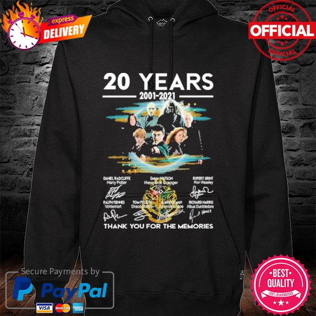 Official harry potter 20 years 2001-2021 signatures thank you for the memories hoodie