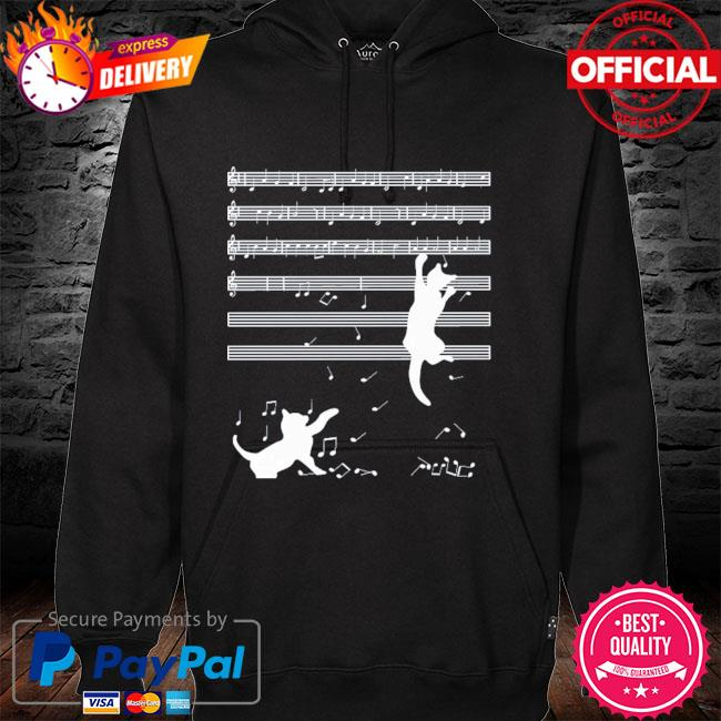Original 2021 cats playing musical notes and make it down hoodie