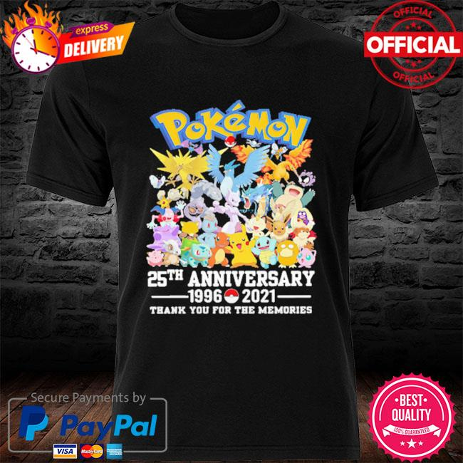Pokemon 25th anniversary thank you for the memories signatures shirt