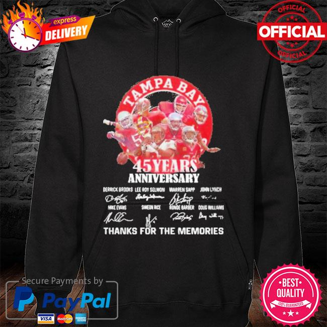 Tampa Bay Buccaneers 45 Years Anniversary Thank You For The Memories Signatures New Shirt hoodie