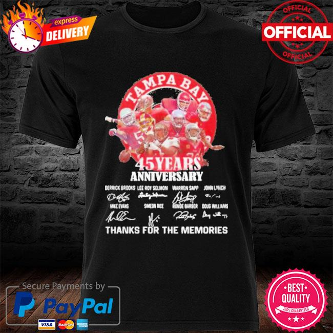 Tampa Bay Buccaneers 45 Years Anniversary Thank You For The Memories Signatures New Shirt
