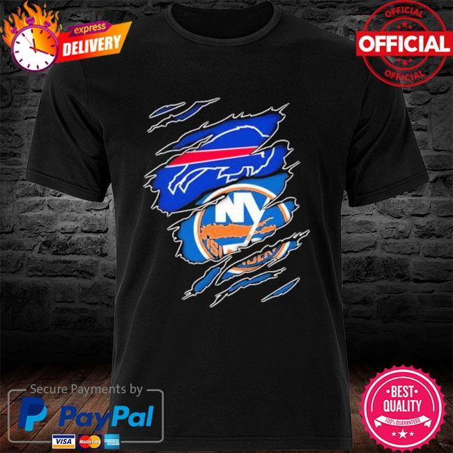 Buffalo Bills And New York Islanders Layer Under Ripped Shirt
