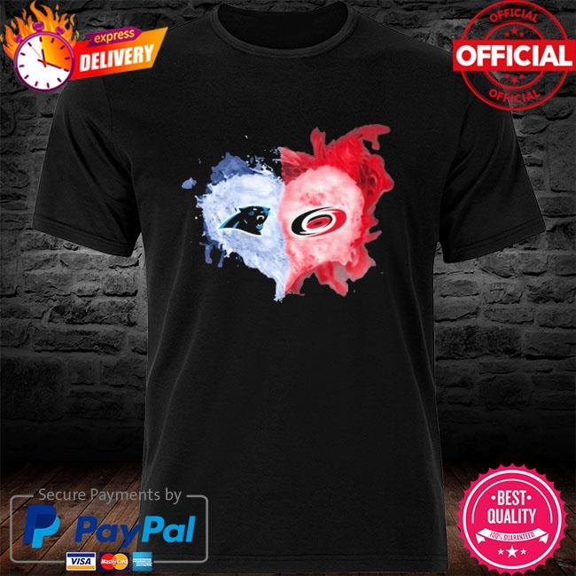 Carolina Panthers And Carolina Hurricanes Flaming Heart Fan Shirt
