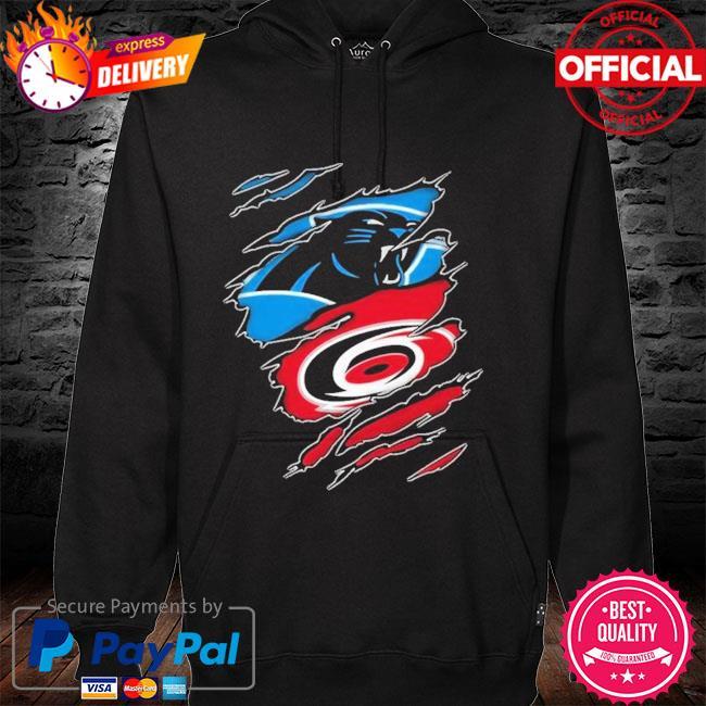 Carolina Panthers And Carolina Hurricanes Layer Under Ripped Shirt hoodie