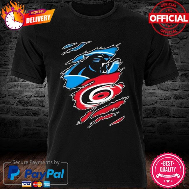 Carolina Panthers And Carolina Hurricanes Layer Under Ripped Shirt