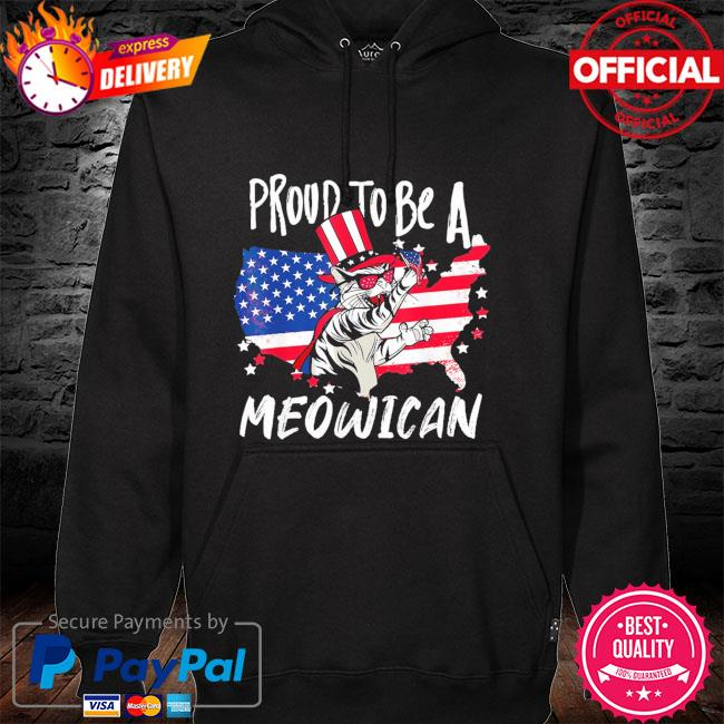 Proud to be as Meowican Cat 4th Of July American flag hoodie